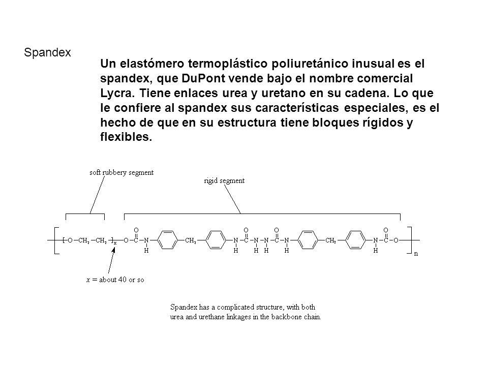 Spandex Un elastómero termoplástico poliuretánico inusual es el spandex, que DuPont vende bajo el nombre comercial Lycra. Tiene enlaces urea y uretano