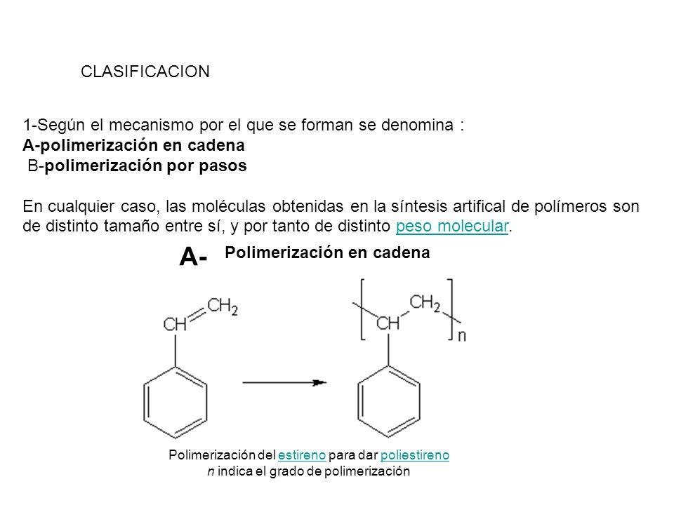 CLASIFICACION 1-Según el mecanismo por el que se forman se denomina : A-polimerización en cadena B-polimerización por pasos En cualquier caso, las mol
