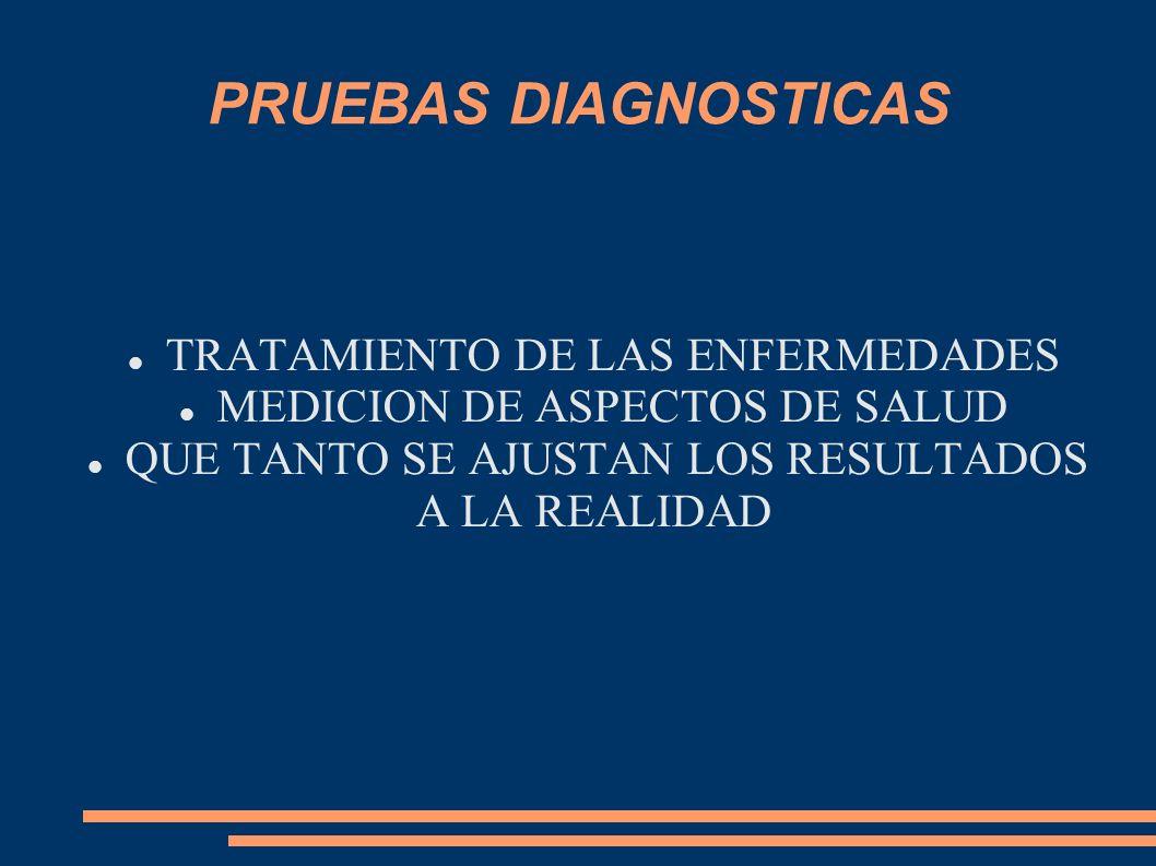 PRUEBAS DIAGNOSTICAS TRATAMIENTO DE LAS ENFERMEDADES MEDICION DE ASPECTOS DE SALUD QUE TANTO SE AJUSTAN LOS RESULTADOS A LA REALIDAD