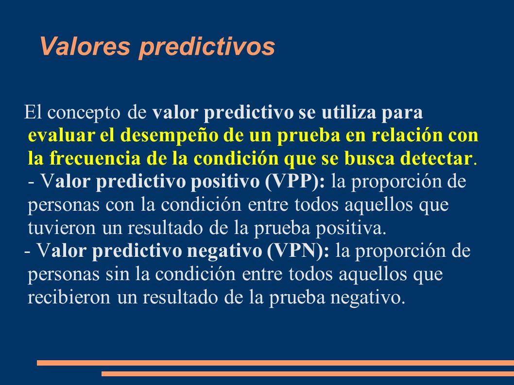 Valores predictivos El concepto de valor predictivo se utiliza para evaluar el desempeño de un prueba en relación con la frecuencia de la condición qu