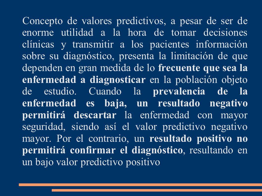Concepto de valores predictivos, a pesar de ser de enorme utilidad a la hora de tomar decisiones clínicas y transmitir a los pacientes información sob