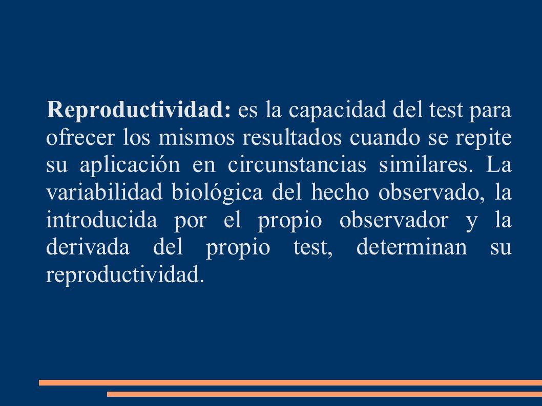 Reproductividad: es la capacidad del test para ofrecer los mismos resultados cuando se repite su aplicación en circunstancias similares. La variabilid