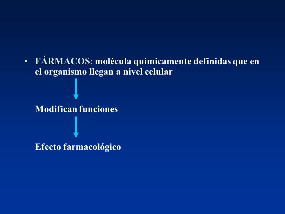 FÁRMACOSFÁRMACOS: molécula químicamente definidas que en el organismo llegan a nivel celular Modifican funciones Efecto farmacológico