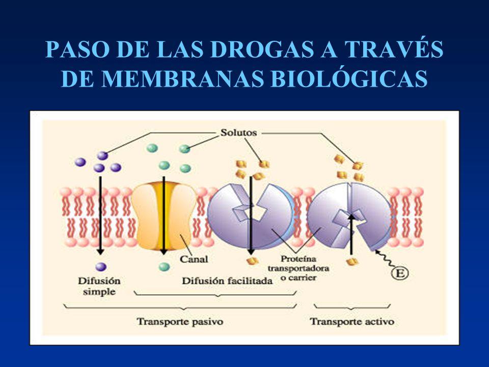 INFLUENCIA DEL pH EN LOS PROCESOS DE ABSORCIÓN PASIVA DE DROGAS FluidopH Jugo gástrico 1.0-3.0 Duodeno 5.0-6.0 Intestino delgado 8 Intestino grueso 8 Plasma sanguíneo 7.4 LCR 7.3 Orina 4.0 - 8.0