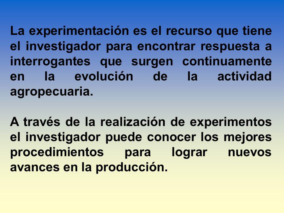 La experimentación es el recurso que tiene el investigador para encontrar respuesta a interrogantes que surgen continuamente en la evolución de la act