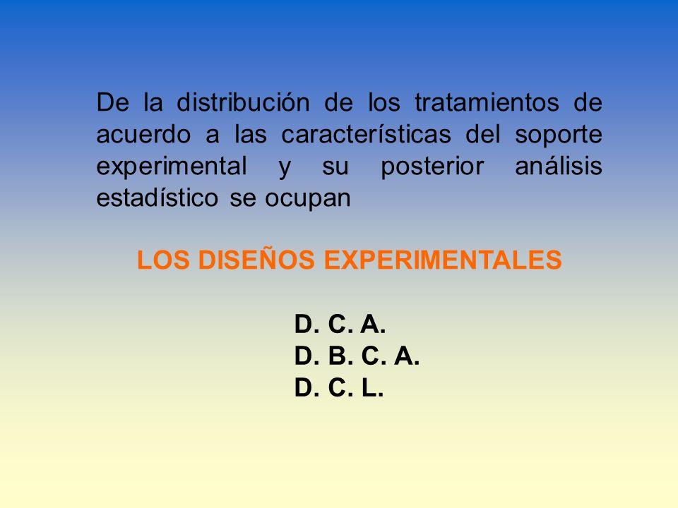 De la distribución de los tratamientos de acuerdo a las características del soporte experimental y su posterior análisis estadístico se ocupan LOS DIS