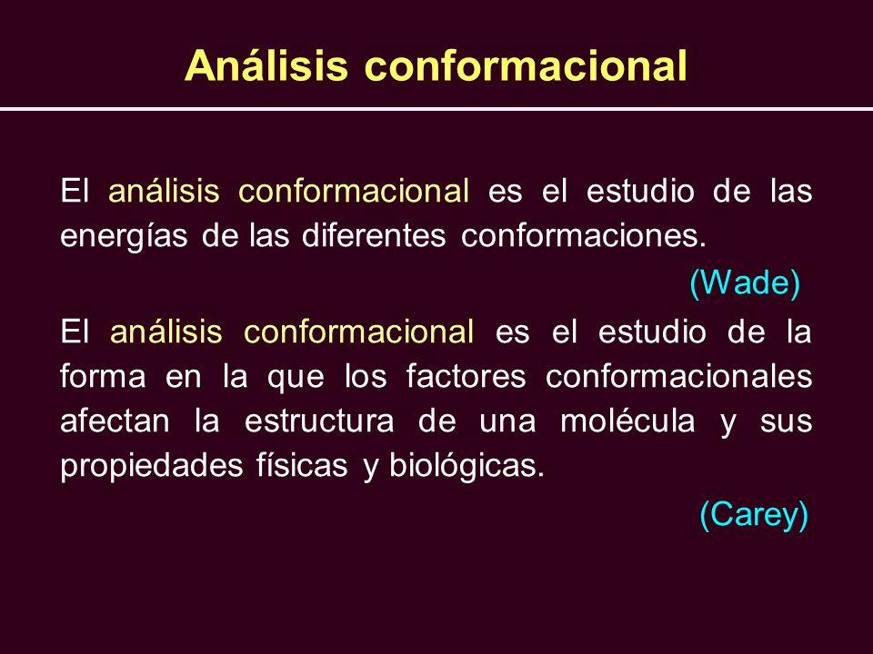 Análisis conformacional El análisis conformacional es el estudio de las energías de las diferentes conformaciones. (Wade) El análisis conformacional e