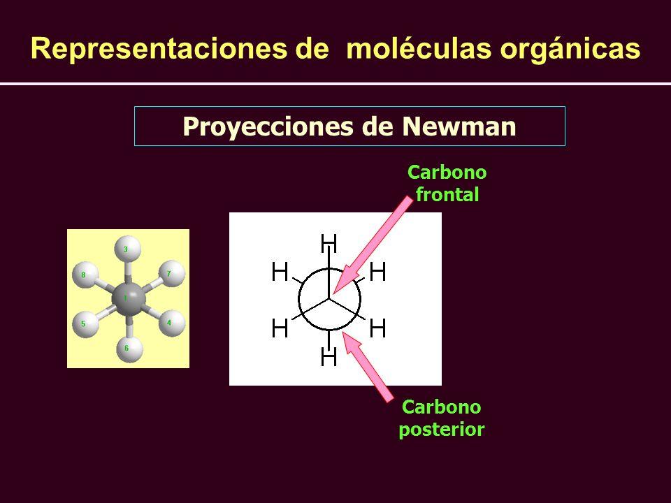 Proyecciones de Newman Representaciones de moléculas orgánicas Carbono frontal Carbono posterior