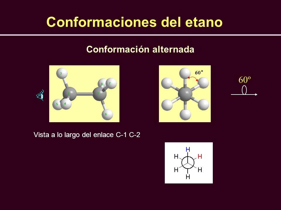 Conformación alternada 60° Vista a lo largo del enlace C-1 C-2 60º Conformaciones del etano