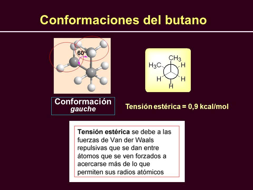 Tensión estérica = 0,9 kcal/mol 60º Conformación gauche Conformaciones del butano