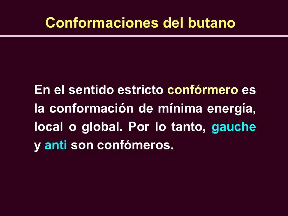 En el sentido estricto confórmero es la conformación de mínima energía, local o global. Por lo tanto, gauche y anti son confómeros. Conformaciones del