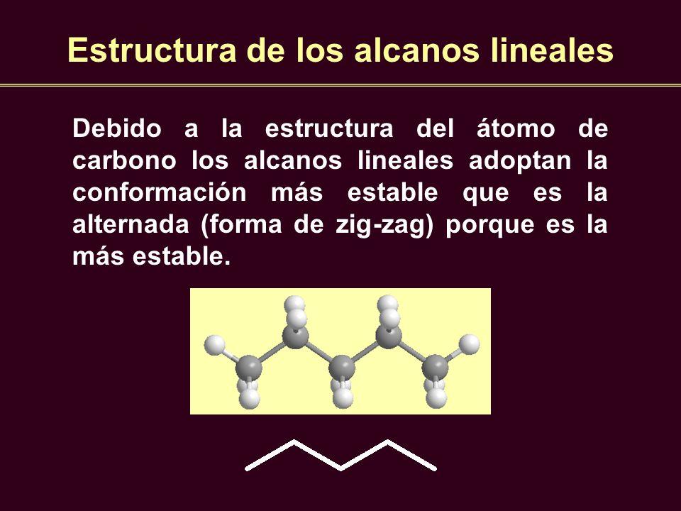 Estructura de los alcanos lineales Debido a la estructura del átomo de carbono los alcanos lineales adoptan la conformación más estable que es la alte