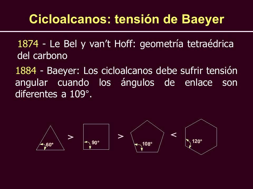 Cicloalcanos: tensión de Baeyer 1874 - Le Bel y vant Hoff: geometría tetraédrica del carbono 1884 - Baeyer: Los cicloalcanos debe sufrir tensión angul