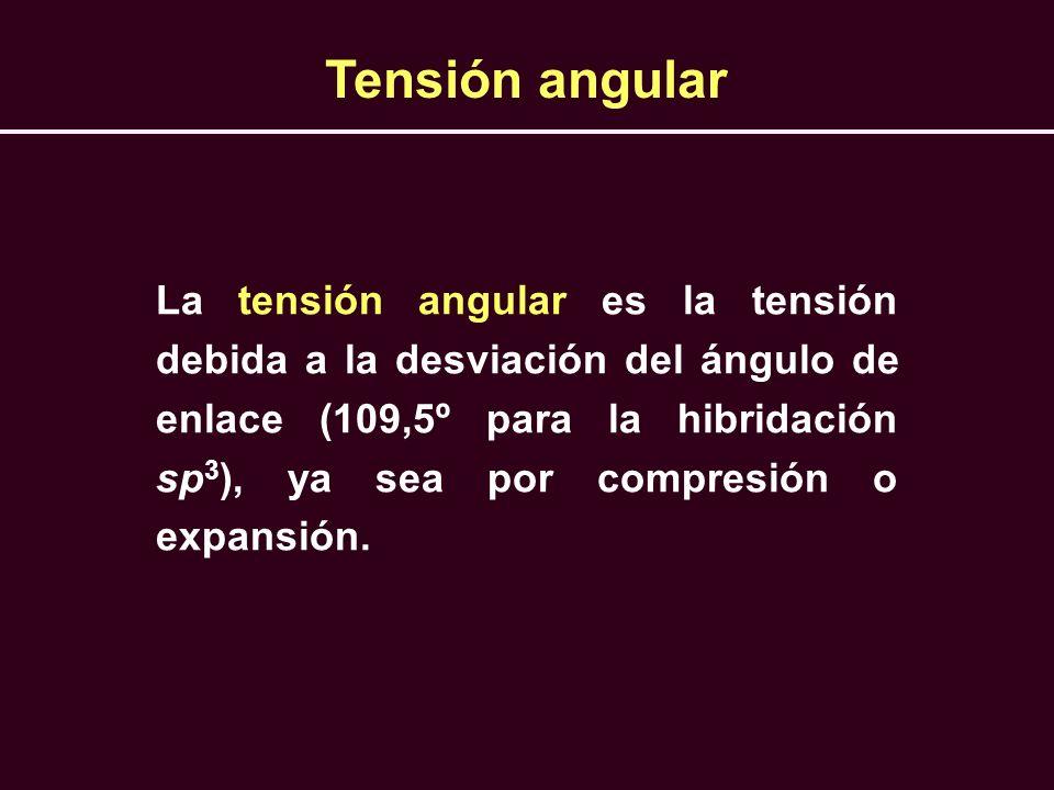 Tensión angular La tensión angular es la tensión debida a la desviación del ángulo de enlace (109,5º para la hibridación sp 3 ), ya sea por compresión
