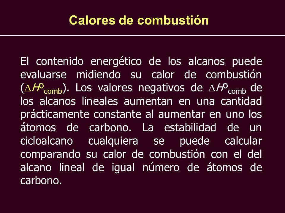 Calores de combustión El contenido energético de los alcanos puede evaluarse midiendo su calor de combustión ( Hº comb ). Los valores negativos de Hº
