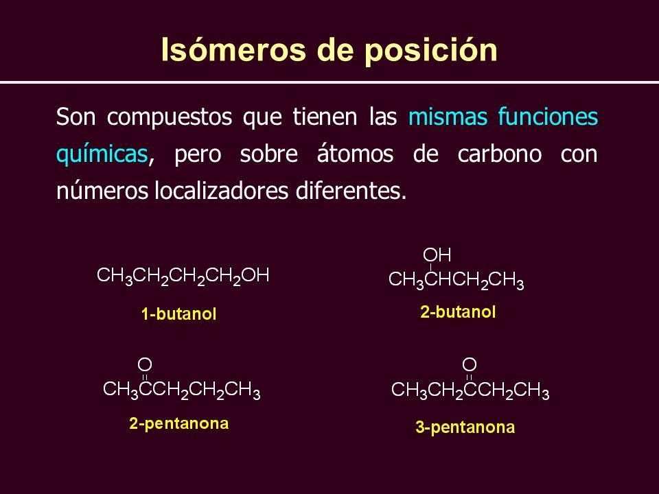 Isómeros de posición Son compuestos que tienen las mismas funciones químicas, pero sobre átomos de carbono con números localizadores diferentes.