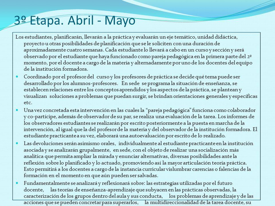 3º Etapa. Abril - Mayo Los estudiantes, planificarán, llevarán a la práctica y evaluarán un eje temático, unidad didáctica, proyecto u otras posibilid