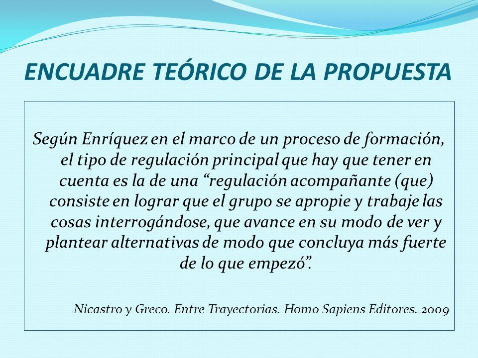 ENCUADRE TEÓRICO DE LA PROPUESTA Según Enríquez en el marco de un proceso de formación, el tipo de regulación principal que hay que tener en cuenta es