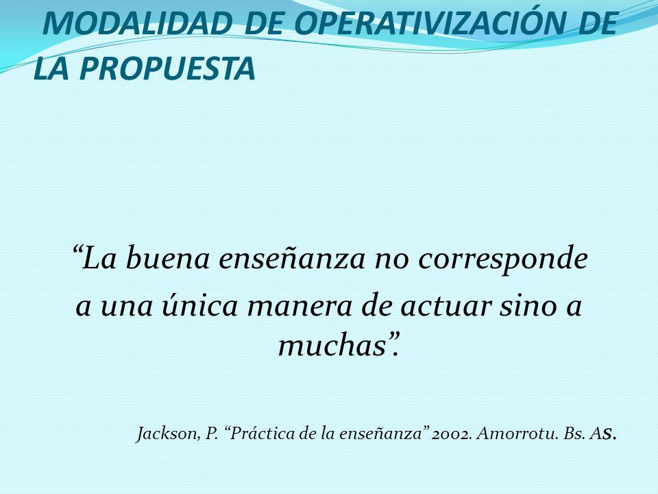 MODALIDAD DE OPERATIVIZACIÓN DE LA PROPUESTA La buena enseñanza no corresponde a una única manera de actuar sino a muchas. Jackson, P. Práctica de la