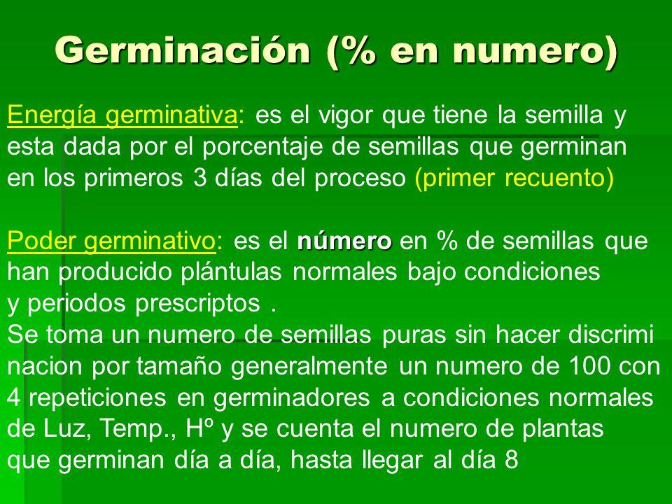 Germinación (% en numero) Energía germinativa: es el vigor que tiene la semilla y esta dada por el porcentaje de semillas que germinan en los primeros