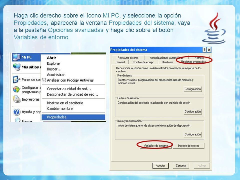 Haga clic derecho sobre el ícono MI PC, y seleccione la opción Propiedades, aparecerá la ventana Propiedades del sistema, vaya a la pestaña Opciones a