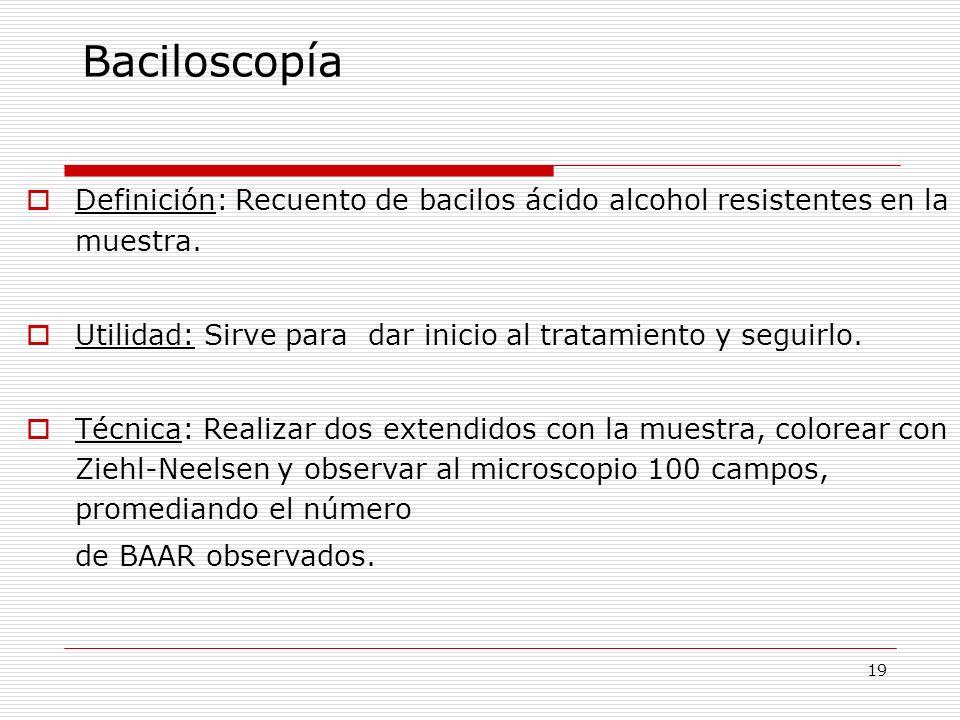 19 Baciloscopía Definición: Recuento de bacilos ácido alcohol resistentes en la muestra. Utilidad: Sirve para dar inicio al tratamiento y seguirlo. Té