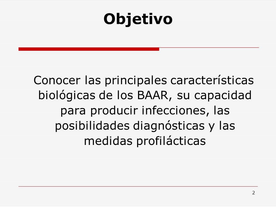 2 Conocer las principales características biológicas de los BAAR, su capacidad para producir infecciones, las posibilidades diagnósticas y las medidas