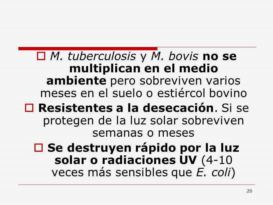 26 M. tuberculosis y M. bovis no se multiplican en el medio ambiente pero sobreviven varios meses en el suelo o estiércol bovino Resistentes a la dese