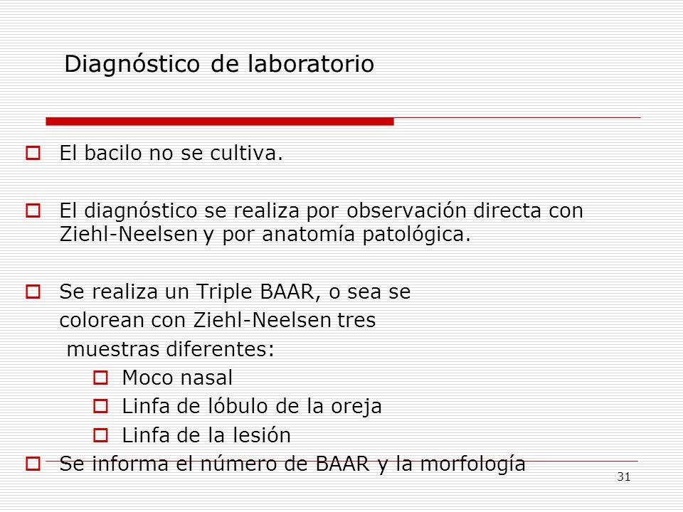 31 El bacilo no se cultiva. El diagnóstico se realiza por observación directa con Ziehl-Neelsen y por anatomía patológica. Se realiza un Triple BAAR,