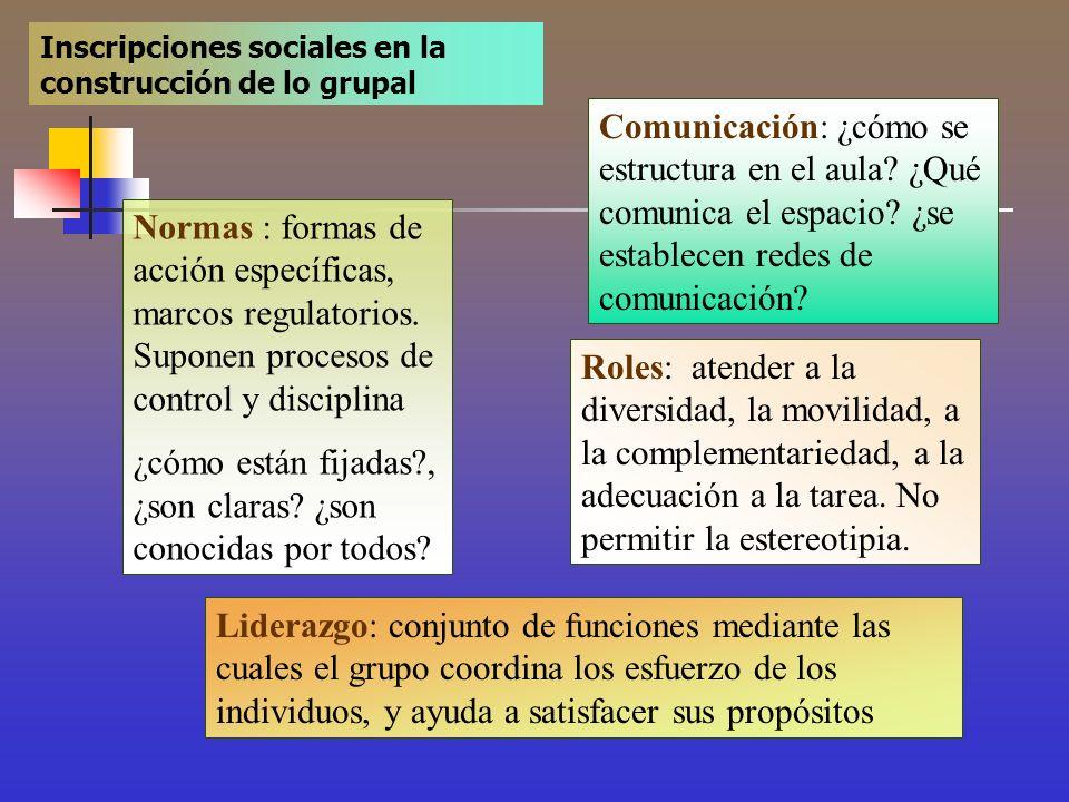 Inscripciones sociales en la construcción de lo grupal Normas : formas de acción específicas, marcos regulatorios. Suponen procesos de control y disci