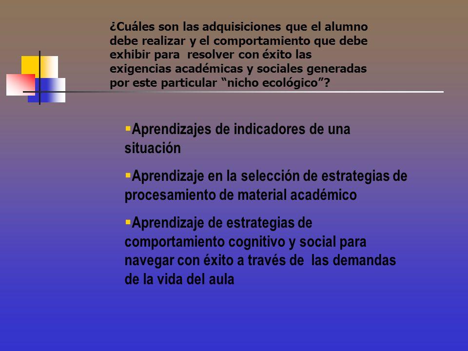 ¿Cuáles son las adquisiciones que el alumno debe realizar y el comportamiento que debe exhibir para resolver con éxito las exigencias académicas y soc
