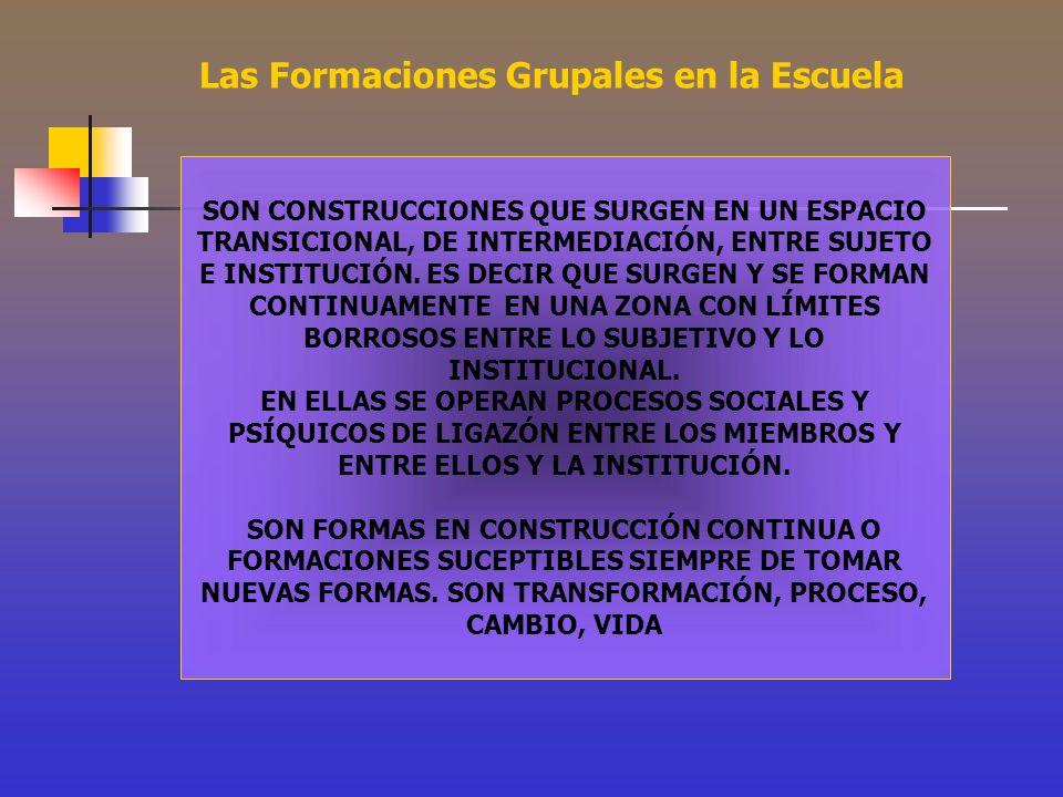 SON CONSTRUCCIONES QUE SURGEN EN UN ESPACIO TRANSICIONAL, DE INTERMEDIACIÓN, ENTRE SUJETO E INSTITUCIÓN. ES DECIR QUE SURGEN Y SE FORMAN CONTINUAMENTE