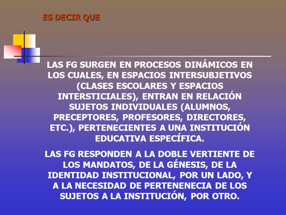ES DECIR QUE LAS FG SURGEN EN PROCESOS DINÁMICOS EN LOS CUALES, EN ESPACIOS INTERSUBJETIVOS (CLASES ESCOLARES Y ESPACIOS INTERSTICIALES), ENTRAN EN RE