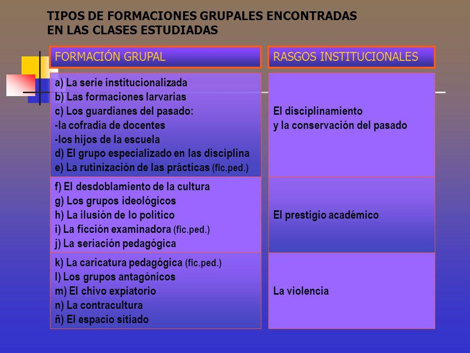 TIPOS DE FORMACIONES GRUPALES ENCONTRADAS EN LAS CLASES ESTUDIADAS a) La serie institucionalizada b) Las formaciones larvarias c) Los guardianes del p