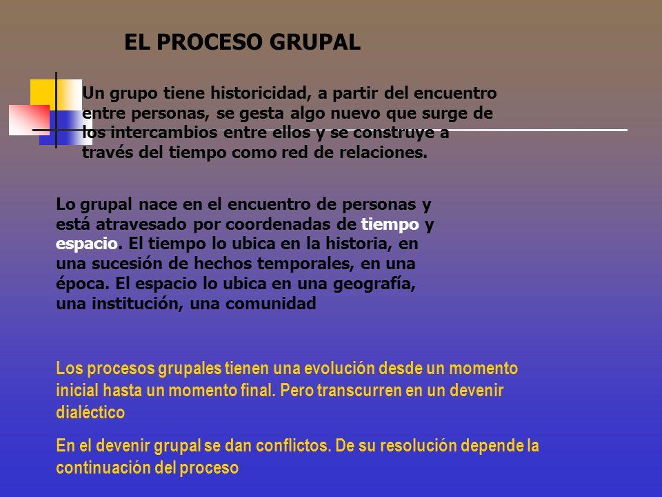 EL PROCESO GRUPAL Un grupo tiene historicidad, a partir del encuentro entre personas, se gesta algo nuevo que surge de los intercambios entre ellos y
