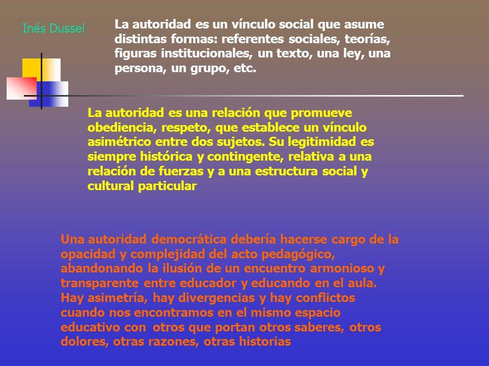 La autoridad es un vínculo social que asume distintas formas: referentes sociales, teorías, figuras institucionales, un texto, una ley, una persona, u