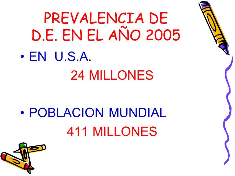 PREVALENCIA DE D.E. EN EL AÑO 2005 EN U.S.A. 24 MILLONES POBLACION MUNDIAL 411 MILLONES