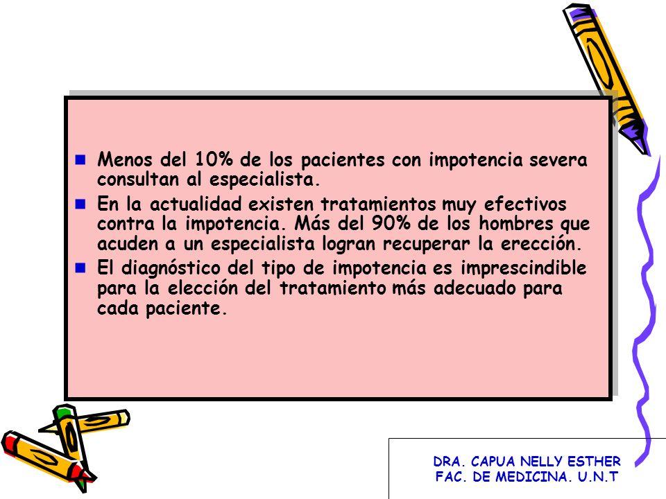 Menos del 10% de los pacientes con impotencia severa consultan al especialista. En la actualidad existen tratamientos muy efectivos contra la impotenc