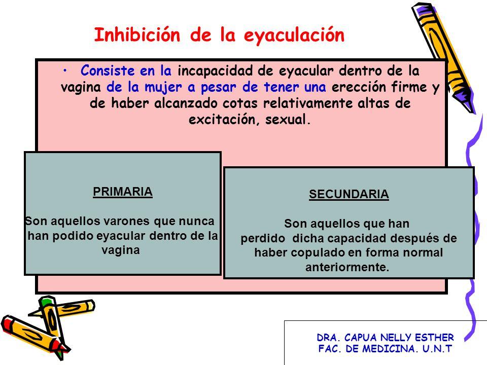 Inhibición de la eyaculación Consiste en la incapacidad de eyacular dentro de la vagina de la mujer a pesar de tener una erección firme y de haber alc