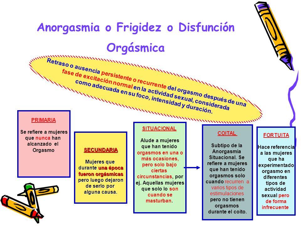 Anorgasmia o Frigidez o Disfunción Orgásmica Retraso o ausencia persistente o recurrente del orgasmo después de una fase de excitación normal en la ac