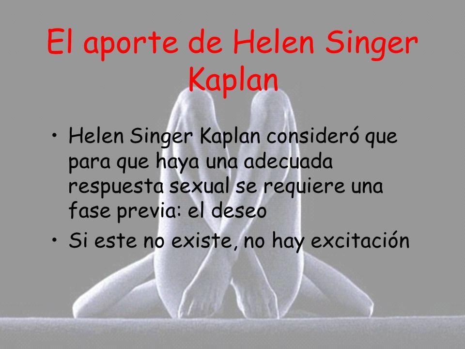 El aporte de Helen Singer Kaplan Helen Singer Kaplan consideró que para que haya una adecuada respuesta sexual se requiere una fase previa: el deseo S