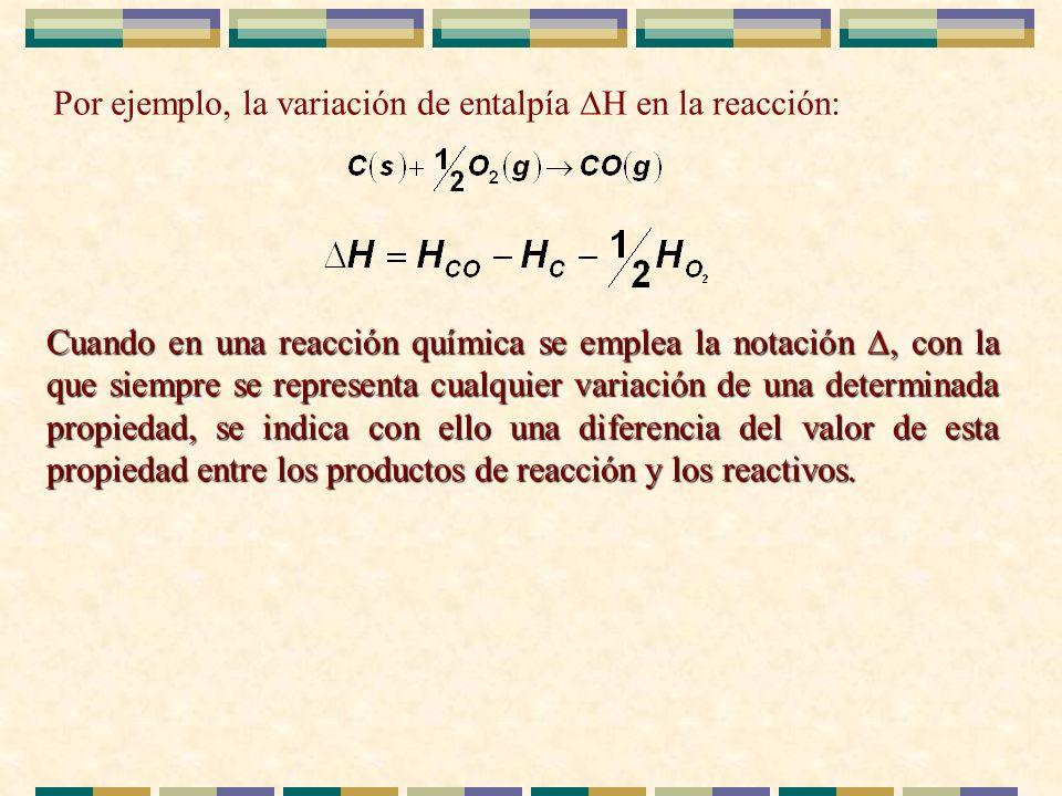 Por ejemplo, la variación de entalpía H en la reacción: Cuando en una reacción química se emplea la notación, con la que siempre se representa cualqui