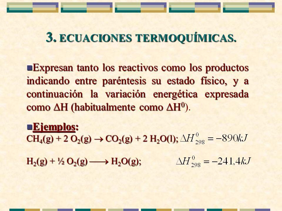 3. ECUACIONES TERMOQUÍMICAS. n Expresan tanto los reactivos como los productos indicando entre paréntesis su estado físico, y a continuación la variac