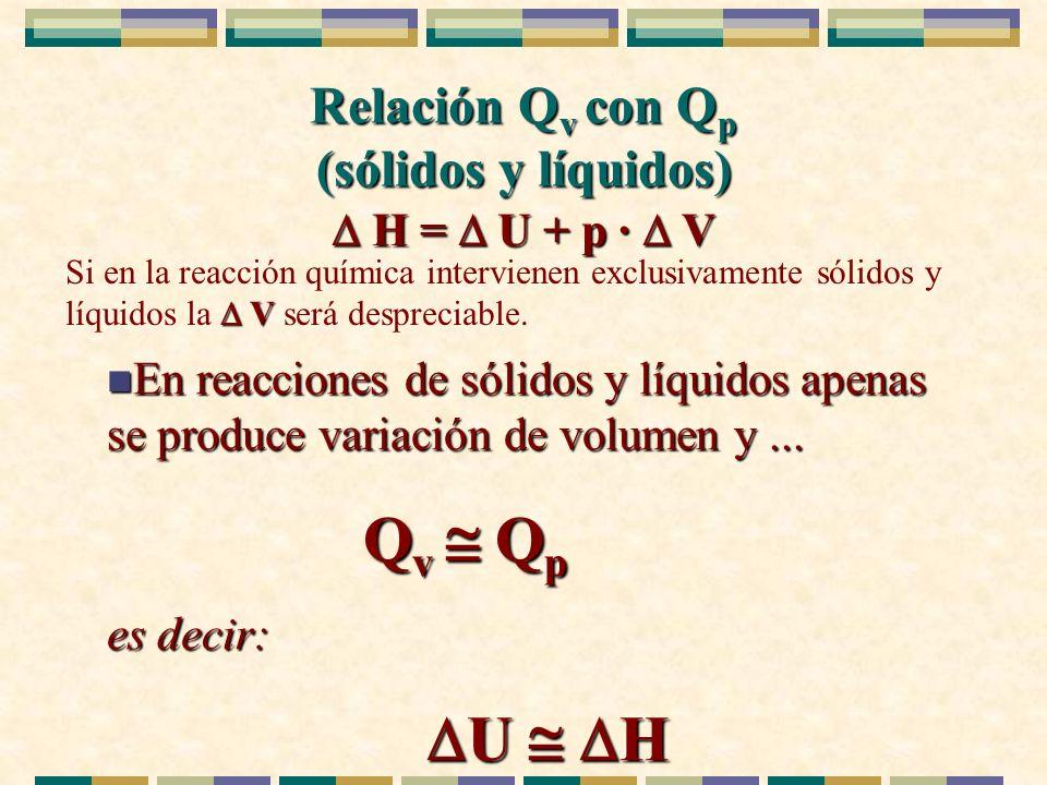 Relación Q v con Q p (sólidos y líquidos) n En reacciones de sólidos y líquidos apenas se produce variación de volumen y... Q v Q p Q v Q p es decir:
