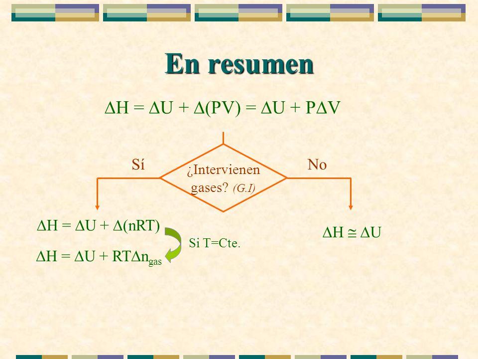 En resumen H = U + (PV) = U + P V ¿Intervienen gases? (G.I) NoSí H = U + (nRT) H U H = U + RT n gas Si T=Cte.