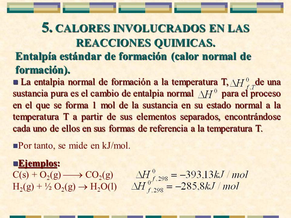 5. CALORES INVOLUCRADOS EN LAS REACCIONES QUIMICAS. Entalpía estándar de formación (calor normal de formación). n La entalpia normal de formación a la