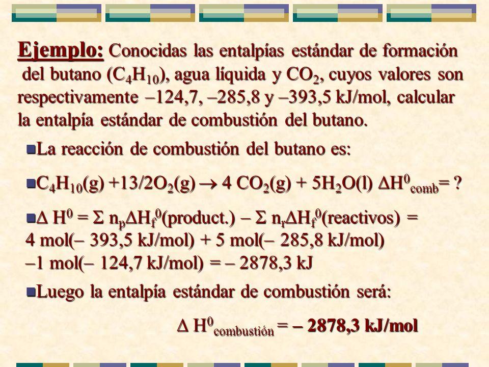 Ejemplo: Conocidas las entalpías estándar de formación del butano (C 4 H 10 ), agua líquida y CO 2, cuyos valores son respectivamente –124,7, –285,8 y