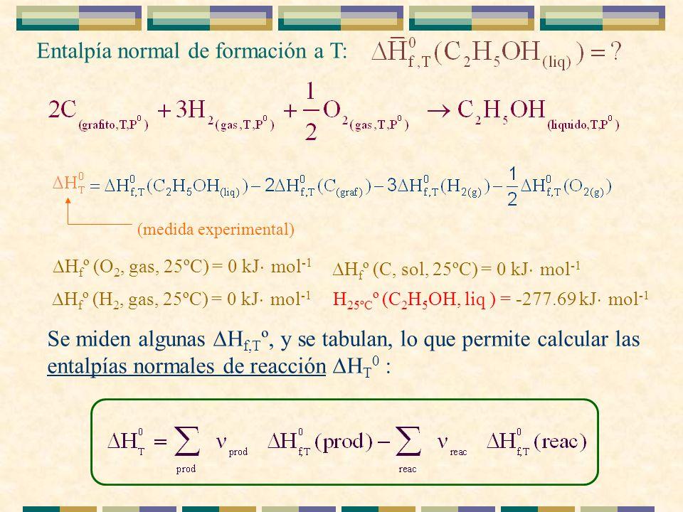 Entalpía normal de formación a T: H 25ºC º (C 2 H 5 OH, liq ) = -277.69 kJ mol -1 H f º (C, sol, 25ºC) = 0 kJ mol -1 H f º (H 2, gas, 25ºC) = 0 kJ mol