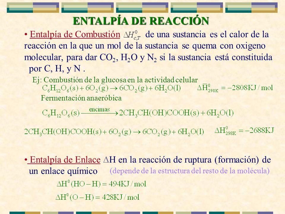 ENTALPÍA DE REACCIÓN ENTALPÍA DE REACCIÓN Entalpía de Combustión de una sustancia es el calor de la reacción en la que un mol de la sustancia se quema