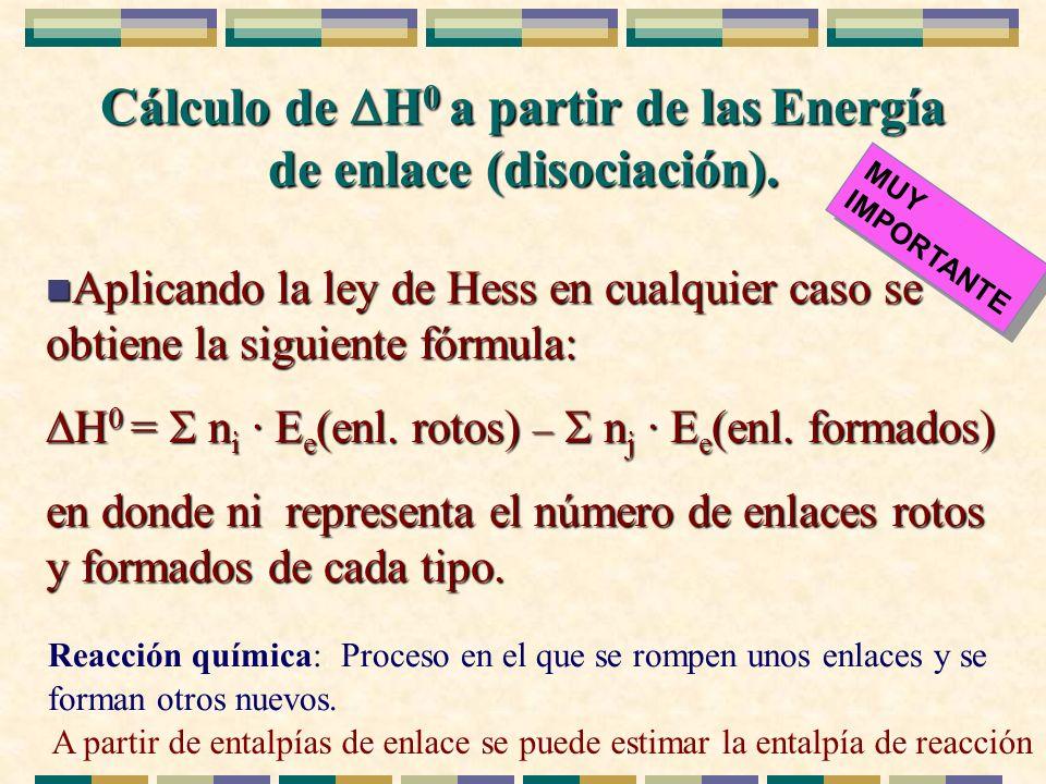 Cálculo de H 0 a partir de las Energía de enlace (disociación). n Aplicando la ley de Hess en cualquier caso se obtiene la siguiente fórmula: H 0 = n